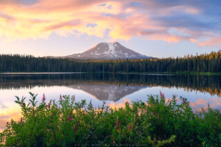 Washington, Mt Adams, Takhlakh Lake, sunrise, summer, morning, Cascade, mountain