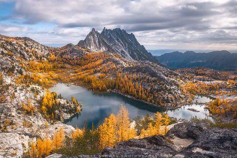 Enchantments, Washington, Cascades, sunrise, Western Larch, trees, Alpine, Lakes, Wilderness, Area, Larix occidentalis, fall, color, clouds,