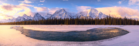 Jasper National Park, Canada, Alberta, Athabasca, River, Valley, Winter, panorama, mountains, snow, winter, sunrise