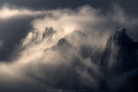 Patagonia, Chile, Parque Nacional Torres del Paine, Grande clouds, summit, atmosphere, telephoto,
