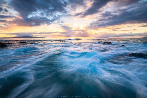 Hawaii, Maui, Wailea, ocean, sunset, waves, blue, tropical, thunderstorm, Kaho'olawe, Lanai,
