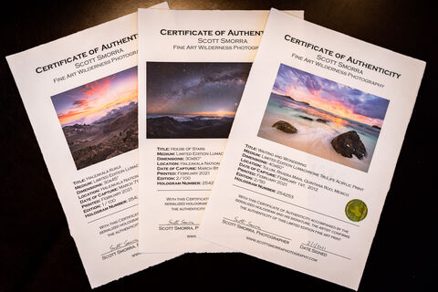 Certificates of Authenticity for Fine Art Photography