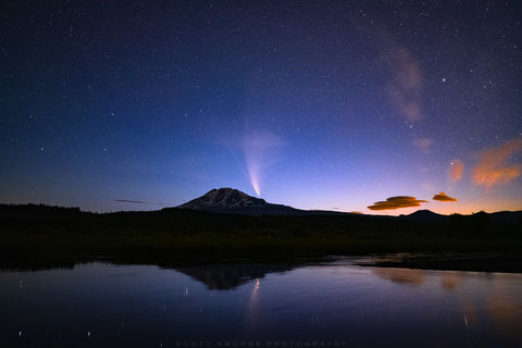 C/2020 F3, NEOWISE, Comet, Mt Adams, mountain, Cascades, stream, lake, sunrise, night