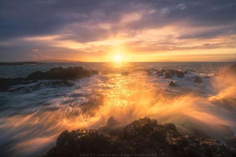 Hawaii, Maui, Wailea, waves, sunset, high tide,