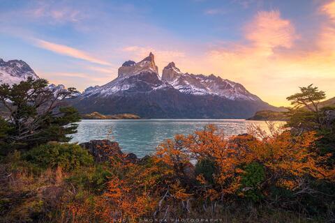 Patagonia, Chile, Parque Nacional Torres del Paine, cuernos, Cerro Cota 2000, Cuerno Principal, Cuerno este, autumn, lenga, trees, sunrise