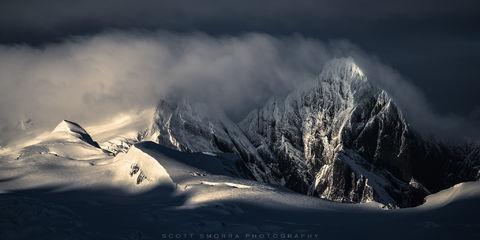 Patagonia, Chile, Fjords, glaciated peaks, clouds