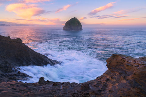 Oregon, Coast, Cape Kiwanda, State Natural Area, Sunrise, Wave, Haystack, Rock, Ocean, sandstone