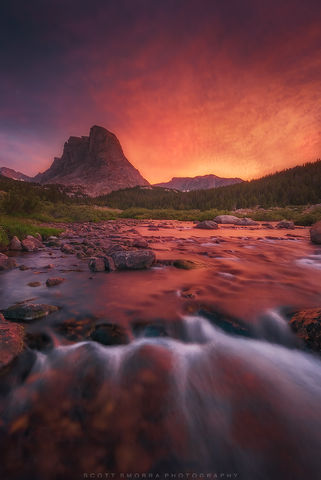 Wyoming, Wind River Range, sunset, stream, Bridger Wilderness, backpacking,