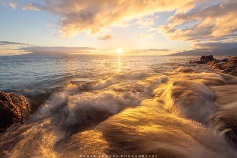Hawaii, Maui, Kapalua, sunset, light, waves, Molokai, Lanai, islands, water,