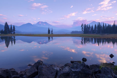 Oregon, Sparks Lake, Cascades, Summer, Broken Top, South Sister, mountain, reflection, Pole Creek Fire, Deschutes National Forest,