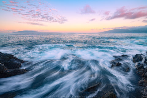 Hawaii, Maui, Kapalua, Lanai, Molokai, waves, sunrise, pastel, ocean, subtle, relaxing, rocks,