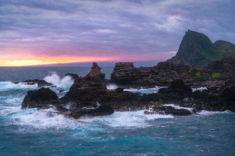 Hawaii, Maui, sunrise, waves, rugged, light