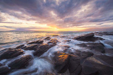 Hawaii, Maui, Kapalua, sunset, rocks, waves, shoreline, islands, Molokai, Lanai,