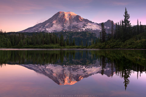 Washington, Cascades, Mt Rainier National Park, Mount, Bench Lake, Sunrise, Alpenglow, reflection