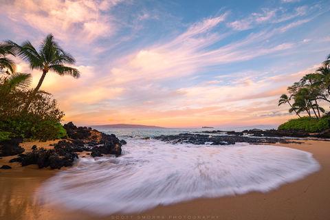 Hawaii, Maui, island, sunrise, coconut, palm tree, peaceful, relaxing, tropical,