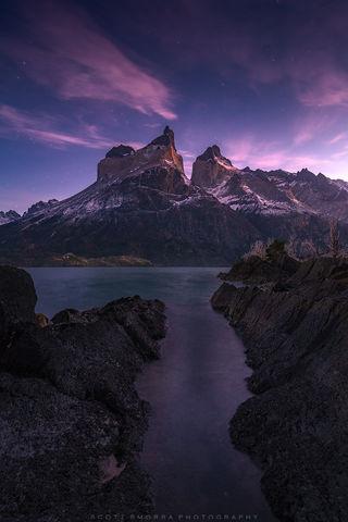 Patagonia, Chile, Parque Nacional Torres del Paine, cuernos, Cerro Cota 2000, Cuerno Principal, Cuerno este, stars, summits, sunrise, lake