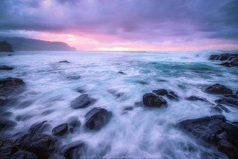 Hawaii, Kauai, Hanaeli, Princeville, north shore, tropical, sunset, waves, swell, atmosphere, rocks, islands,
