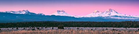 Three Sisters, Broken Top, sunlight, frosty, winter, morning, Sisters, Cascade, Range, high desert, Central Oregon, mountains,