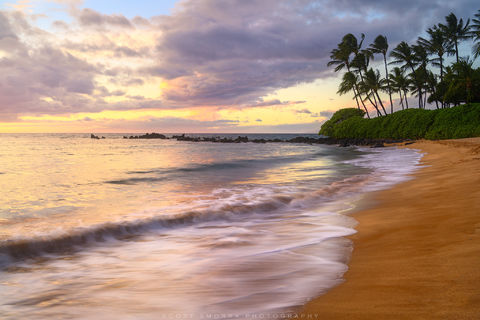 Hawaii, Maui, Wailea, sunset, beach, tropical, coconut, palm, trees,