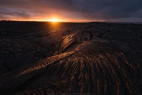 Hawaii, Big Island, Volcanoes National Park, Kilauea, 61G, Lava, flow, sunrise, ropey pahoehoe, pattern