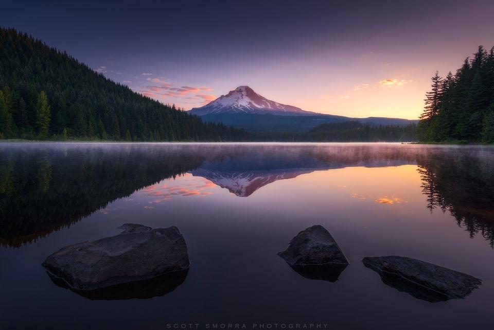 Oregon, Trillium Lake, Cascade, Range, Sunrise, Reflection, summer, Mt Hood,