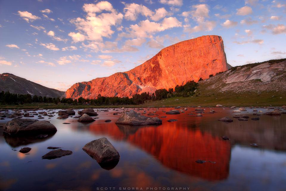 Wyoming, Wind River Range, Bridger Wilderness, Mt Hooker, granite, sunrise, fine art