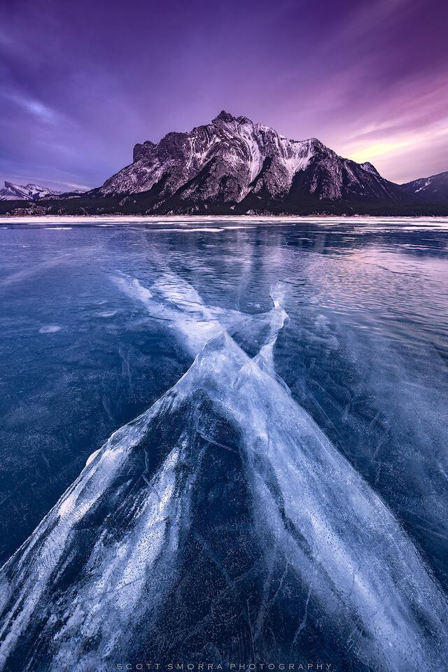 Canada, Abraham Lake, Winter, Sunset, ice, cracks, frozen, clouds, Alberta
