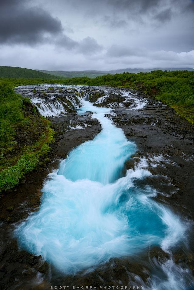 Iceland, Brúará river, Brúarfoss Waterfall, blue, azure