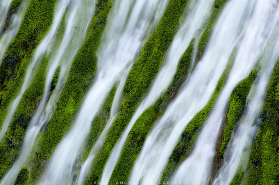 Washington, Columbia River Gorge, Waterfall, spring, green, abstract
