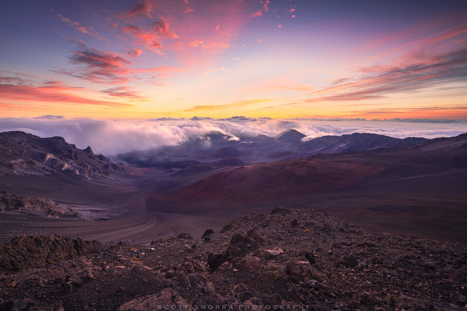 Hawaii, Maui, Haleakala National Park, Sunrise, volcano, clouds, summit, reservations, tropical, volcanic, experience