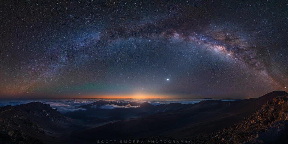Hawaii, Maui, Haleakala National Park, night, Milky Way, summit, stars, Venus