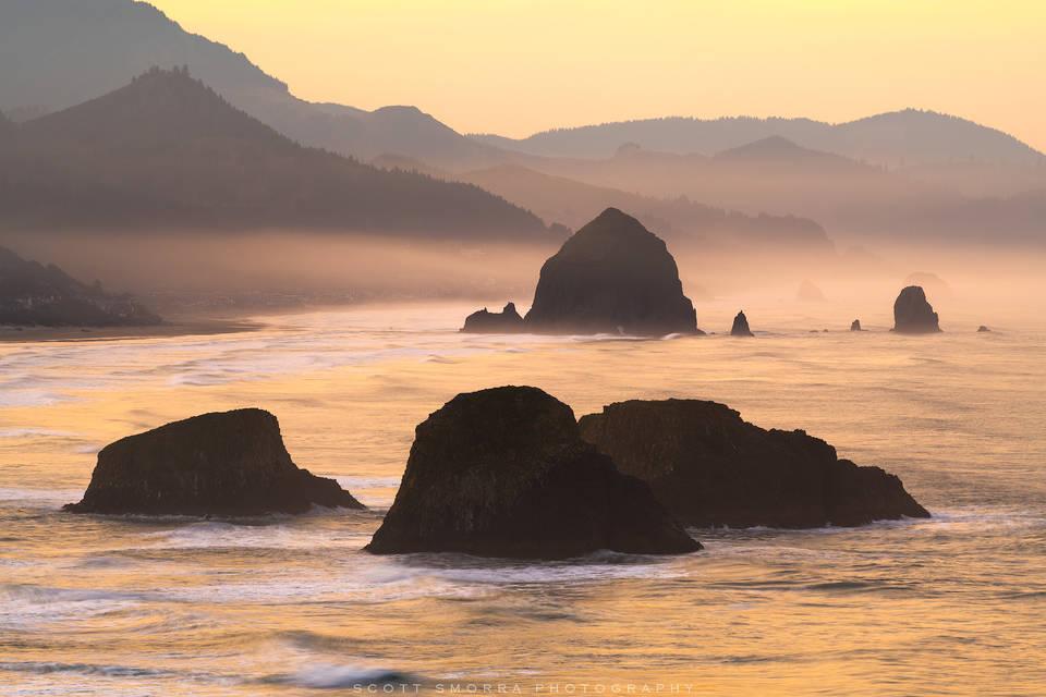 Oregon, Coast, Haystack Rock, Ecola State Park, Cannon Beach, sea, mist, rocks, sunrise