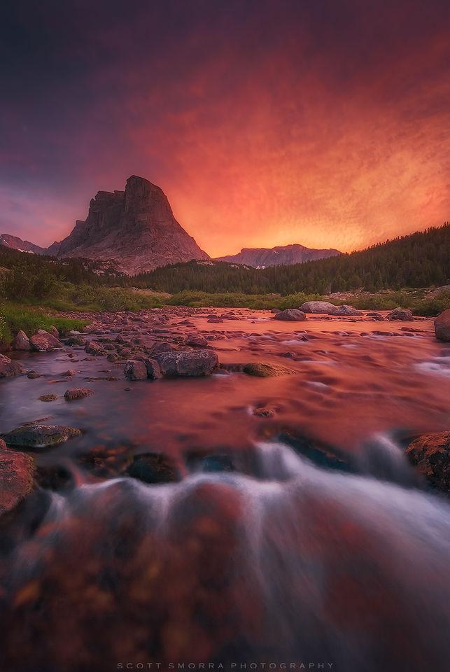 Wyoming, Wind River Range, sunset, stream, Bridger Wilderness, backpacking,