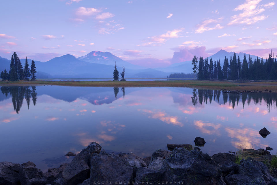 Oregon, Sparks Lake, Cascades, Summer, Broken Top, South Sister, mountain, reflection, Pole Creek Fire, Deschutes National Forest,
