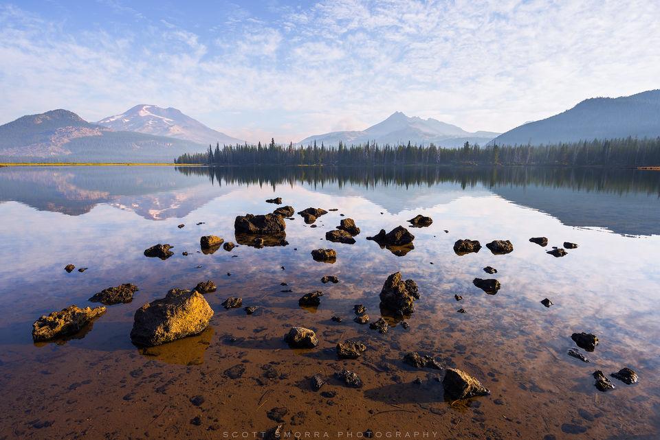 Oregon, Sparks Lake, Cascades, Morning, South Sister, Broken Top, Deschutes National Forest, Oregon Wild, wildlands, reflections, fine art, limited edition