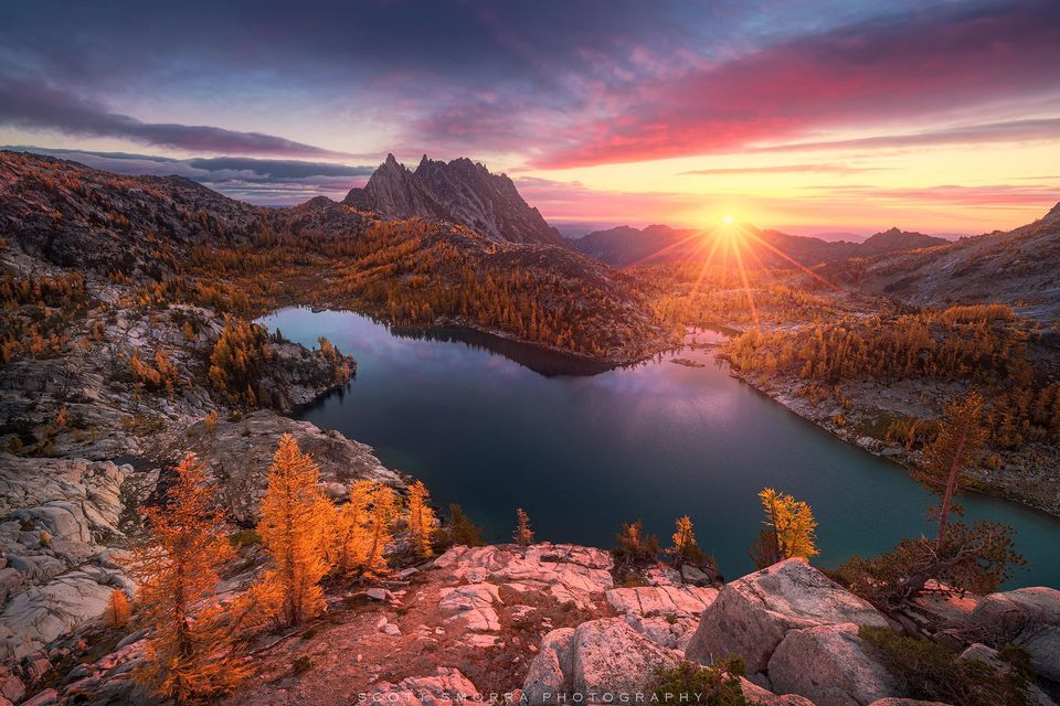 Enchantments, Washington, Cascades, sunrise, Western Larch, trees, Alpine, Lakes, Wilderness, Area, Larix occidentalis, fall, color, clouds, Pacific Northwest