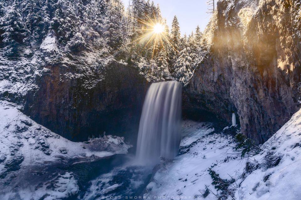Oregon, Cascades, Tamanawas Falls, Winter, Mt Hood Wilderness Proposal, snow