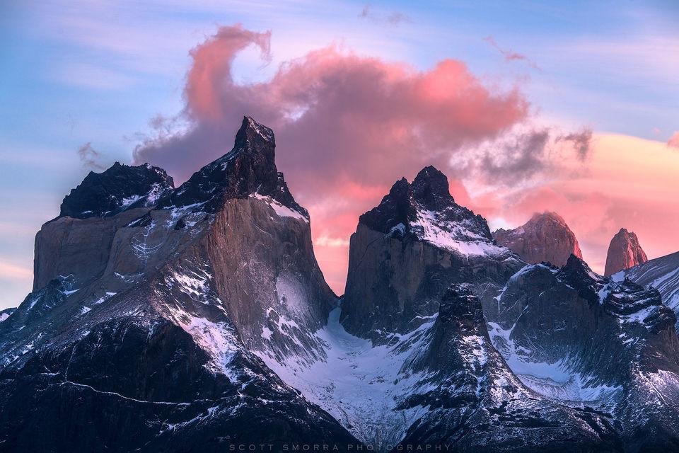 Patagonia, Chile, Parque Nacional Torres del Paine, Cuernos del Paine, cloud, granite