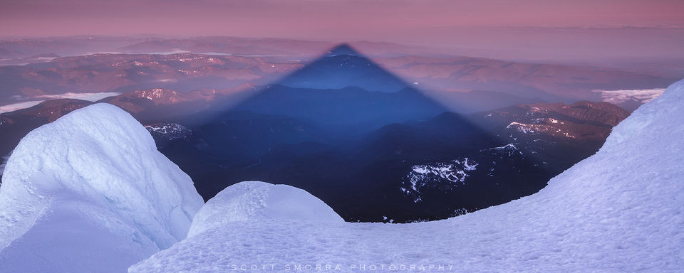 Oregon, Mt Hood, Summit, sunrise, triangular, shadow, alpine, mountaineering, climb, fine art, limited edition, mount, summer