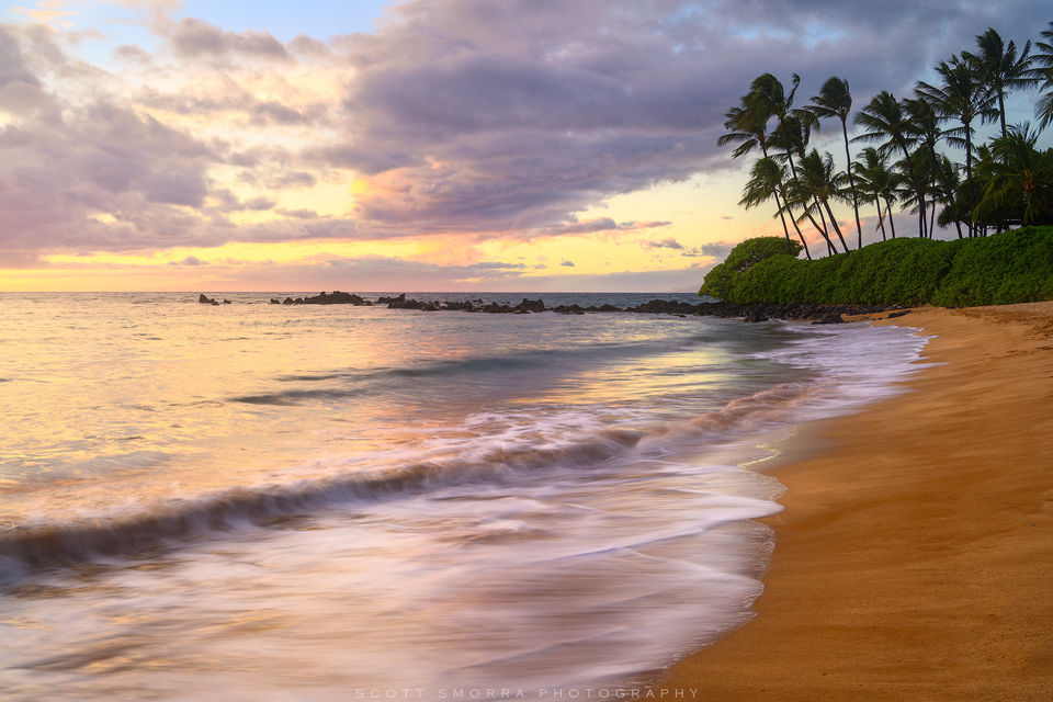 Hawaii, Maui, Wailea, sunset, beach, tropical, coconut, palm, trees,