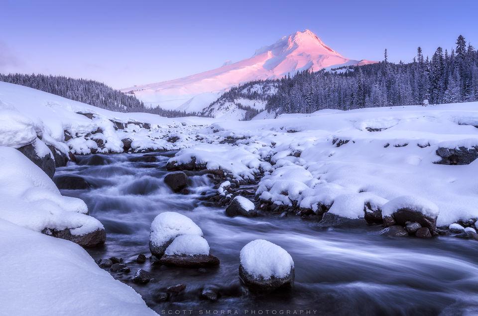 Oregon, Mt Hood, Wilderness, Cascades, Winter, snowfall, mountain, sunrise, alpenglow, white, river, snowshoe