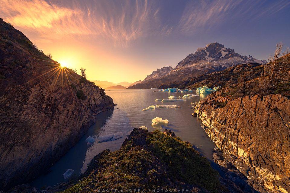 Patagonia, Chile, Parque Nacional Torres del Paine, iceberg, bay, sunset