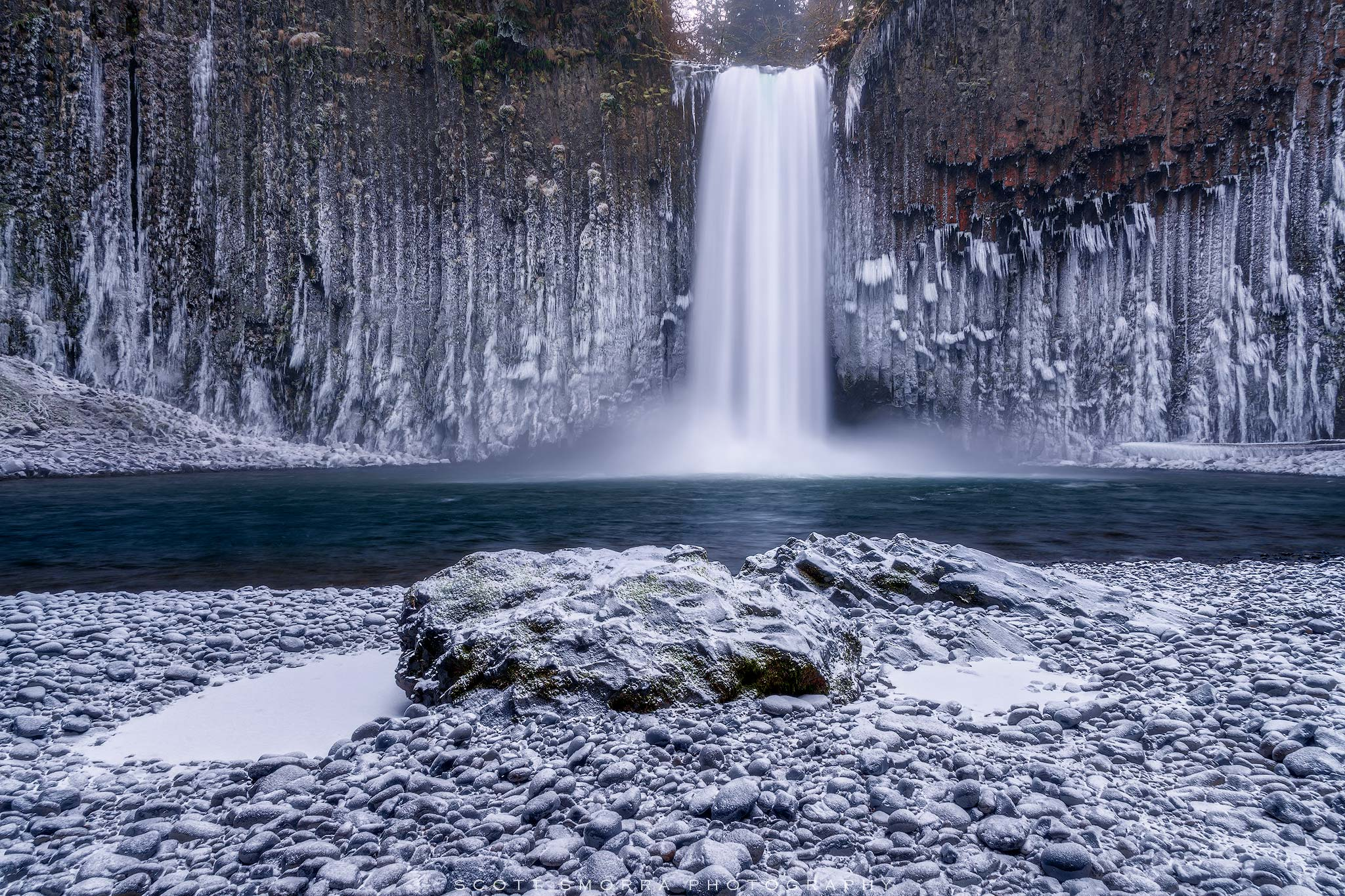 Fine Art Limited Edition of 100 - Abiqua Falls, Oregon surrounded by icicles, snow and frozen spray in winter. In early December...