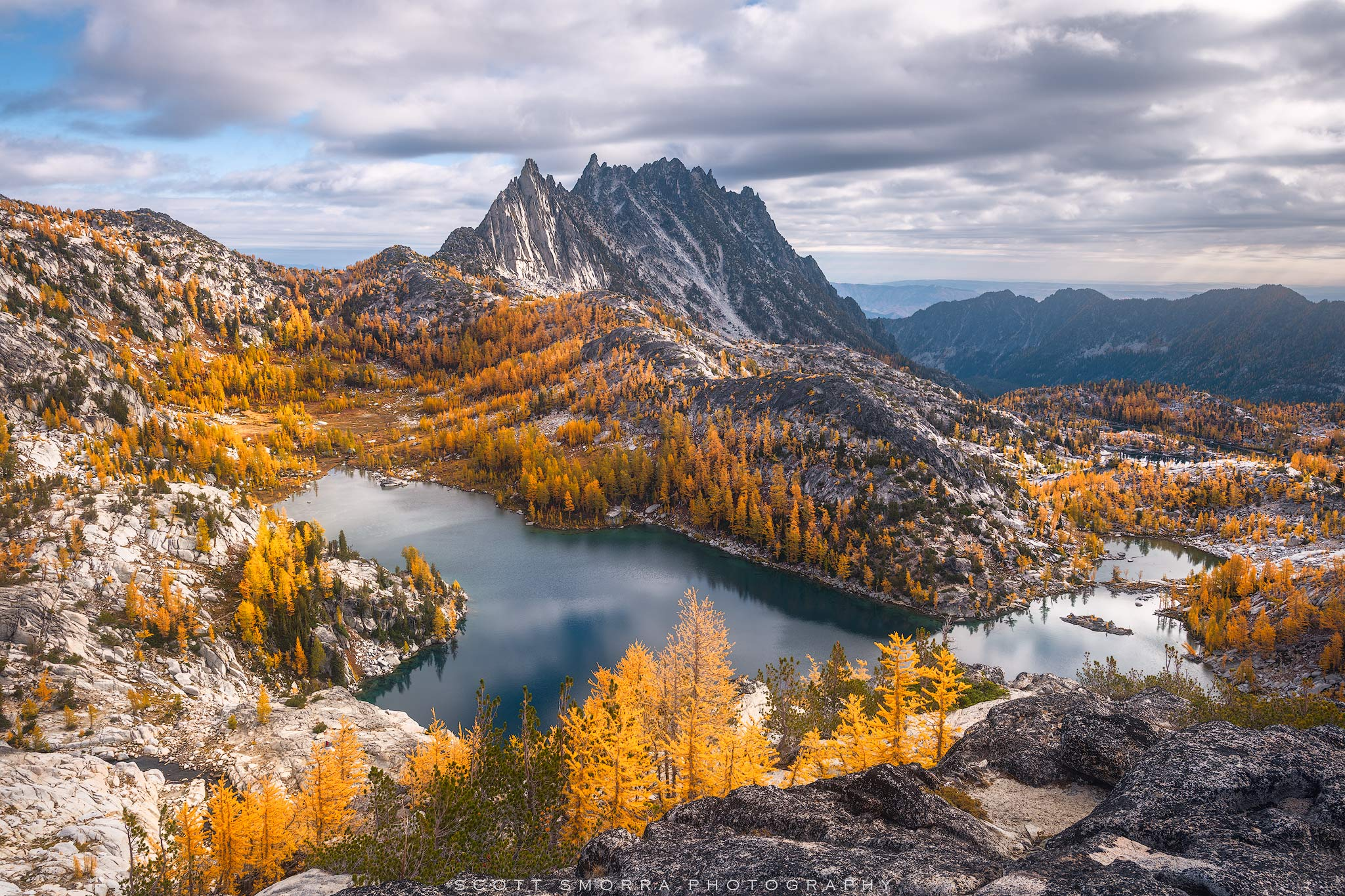 Enchantments, Washington, Cascades, sunrise, Western Larch, trees, Alpine, Lakes, Wilderness, Area, Larix occidentalis, fall, color, clouds,, photo