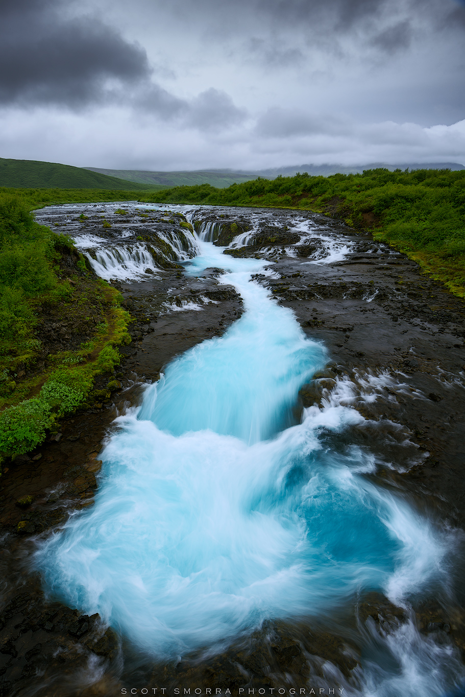 Iceland, Brúará river, Brúarfoss Waterfall, blue, azure, photo