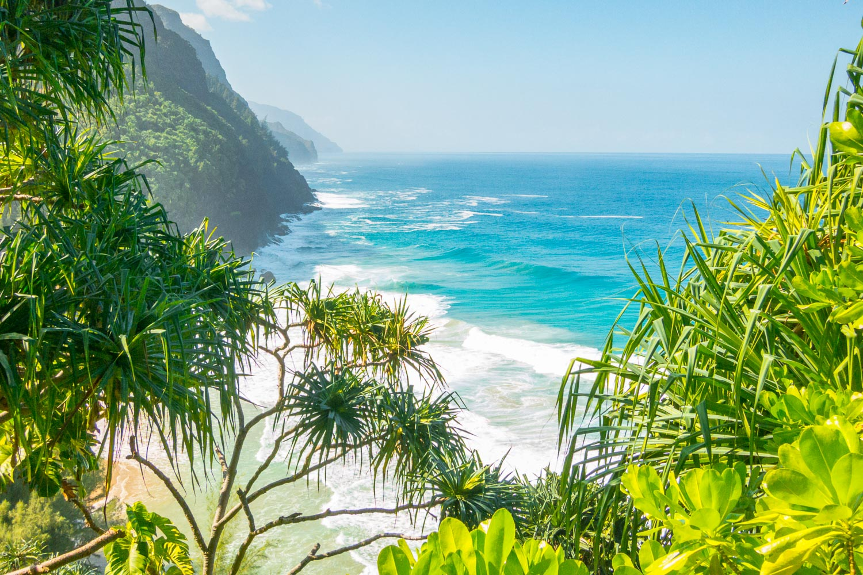 View from the Kalalau Trail near Hanakapi'ai Beach on the Napali Coast of Kaua'i, Hawaii
