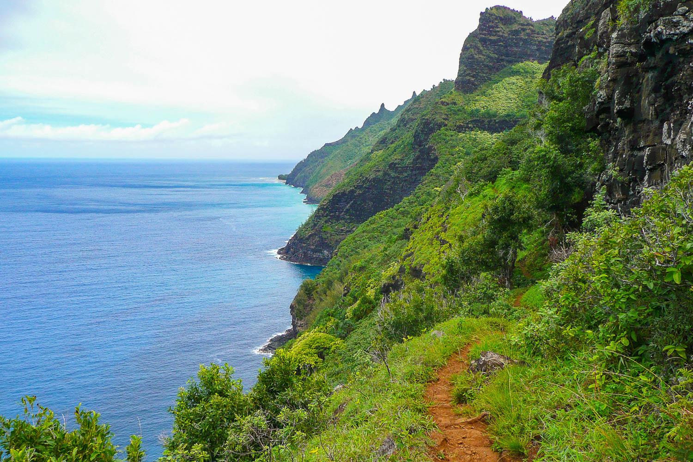 The Kalalau Trail on the Napali Coast of Kaua'i, Hawaii