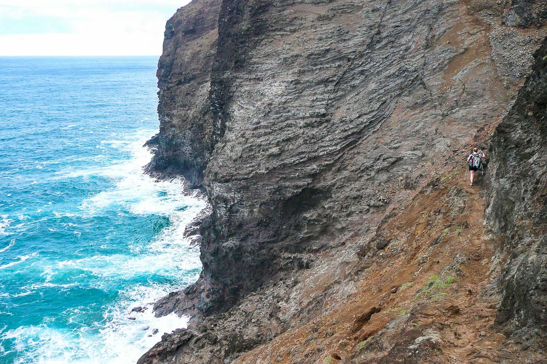 The Kalalau Trail at the famous Crawlers Ledge on the Napali Coast of Kaua'i.