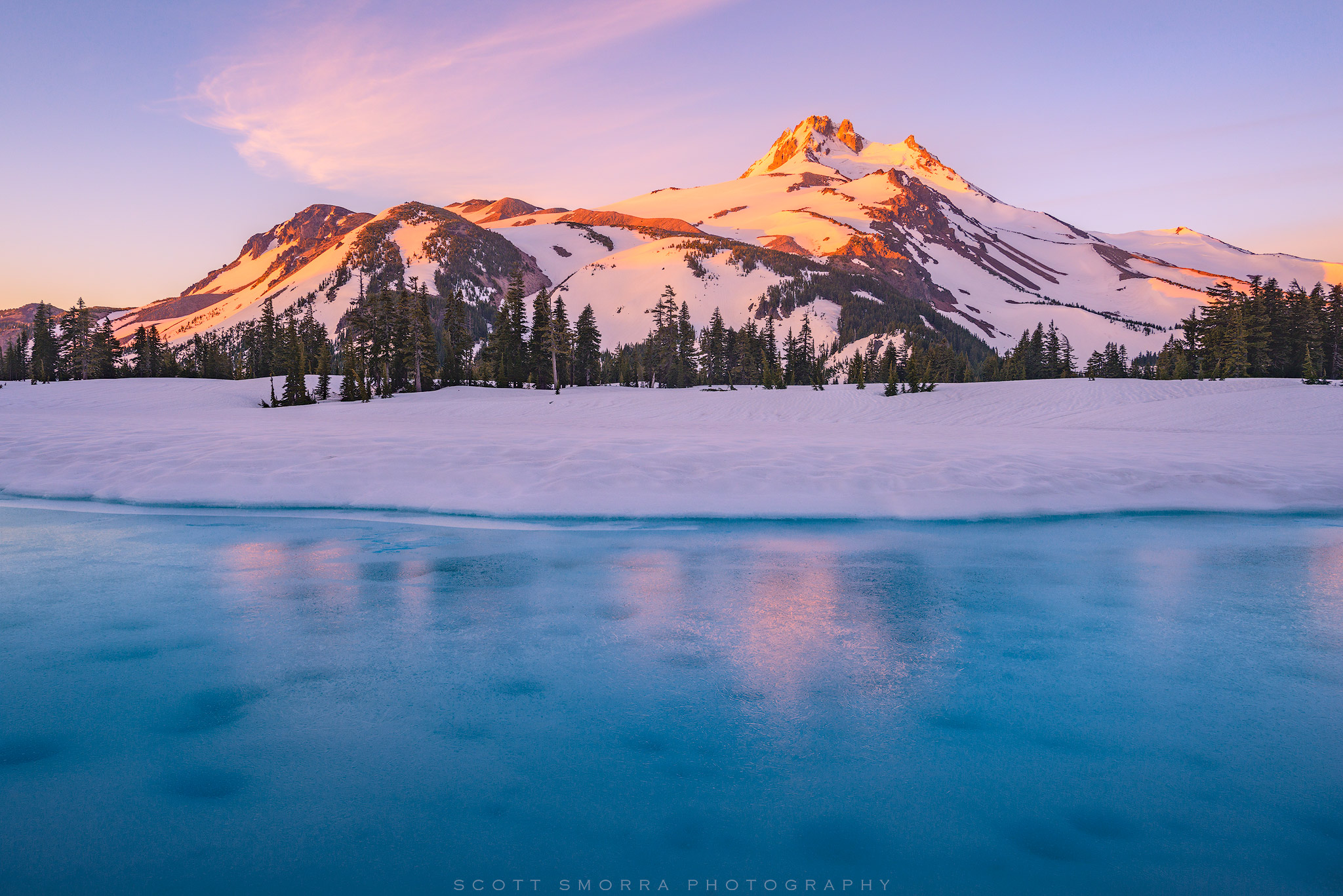 Oregon, Mount Jefferson, Mt, Wilderness, Cascades, ice, snow, sunrise,, photo