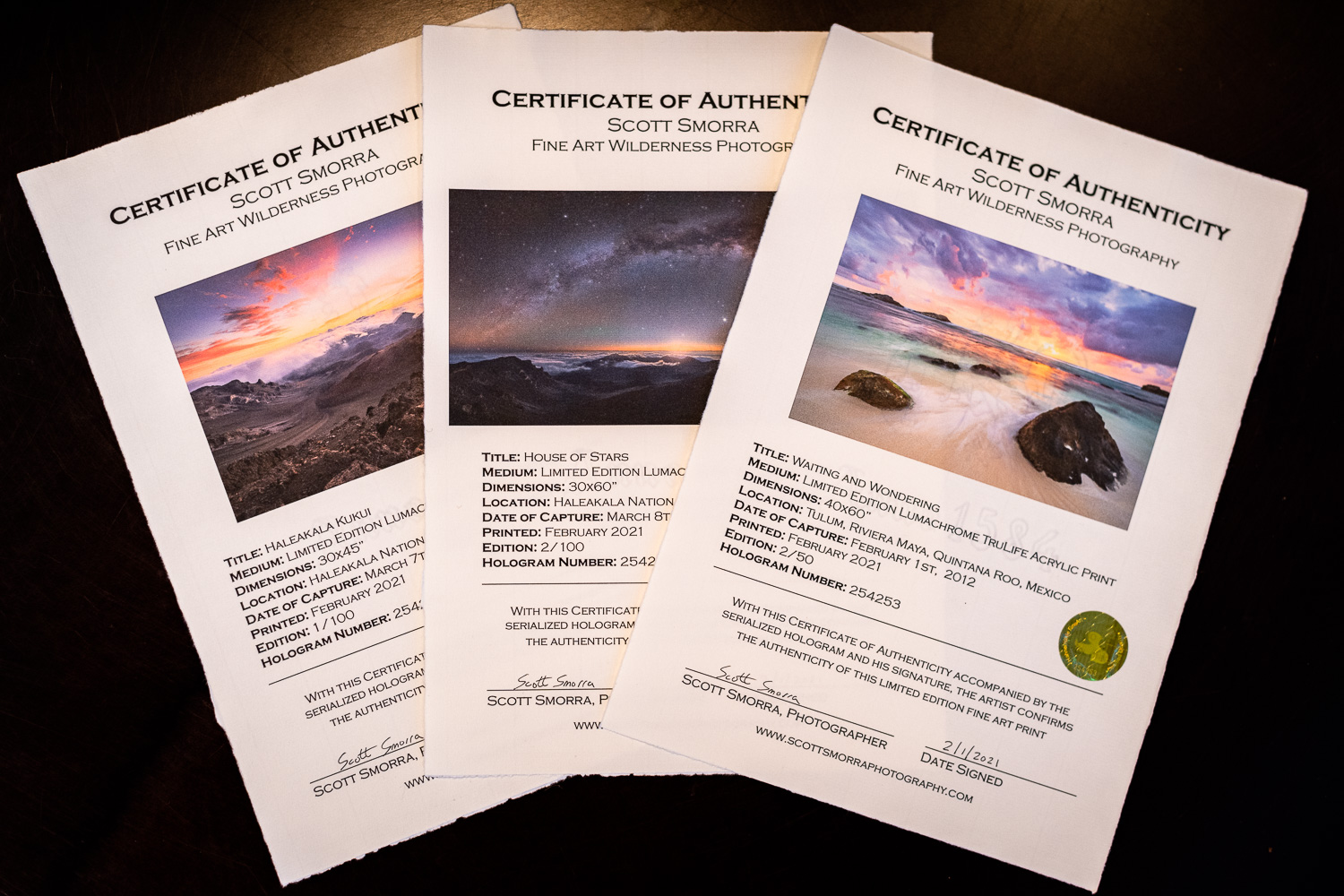 Certificates of Authenticity for Fine Art Photography. Examples from Scott Smorra Photography.